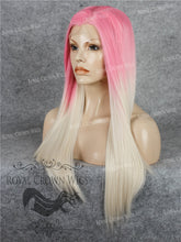 "24 inch Heat Safe Synthetic Straight Texture Lace Front ""Aphrodite"" in Pink Root Ombre, Synthetic Wig, Royal Crown Wigs"