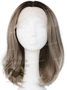 "17 inch Heat Safe Synthetic Lace Front ""Victoria"" Bob with Straight Texture in Rooted Ash Gray Blonde, Synthetic Wig, Royal Crown Wigs"