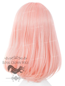 "17 inch Heat Safe Synthetic Lace Front ""Victoria"" Bob with Straight Texture in Pink with Blonde Highlights, Synthetic Wig, Royal Crown Wigs"