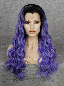 24 inch Synthetic Lace Front with Wave Texture in Rooted Purple, Synthetic Wig, Royal Crown Wigs