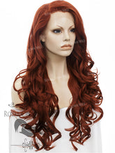 "26 inch Heat Safe Synthetic Lace Front with Curly Texture ""Calypso"" in Copper Red, Synthetic Wig, Royal Crown Wigs"