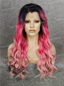 24 inch Synthetic Lace Front with Wave Texture in Rooted Hot Pink to Pastel Pink Ombre, Synthetic Wig, Royal Crown Wigs