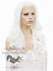 "26 inch Heat Safe Synthetic Lace Front in Curly Texture ""Calypso"" in White, Synthetic Wig, Royal Crown Wigs"