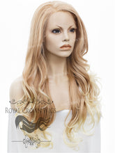 "26 inch Heat Safe Synthetic Lace Front ""Constance"" with Curly Texture in Rose Gold Blonde Ombre, Synthetic Wig, Royal Crown Wigs"