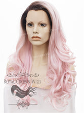 "26 inch Heat Safe Synthetic Lace Front ""Constance"" with Curly Texture in Rooted Pink, Synthetic Wig, Royal Crown Wigs"