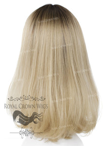 "17 inch Heat Safe Synthetic Lace Front ""Victoria"" Bob with Straight Texture in Rooted Ash Blonde, Synthetic Wig, Royal Crown Wigs"