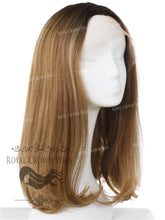 "17 inch Heat Safe Synthetic Lace Front ""Victoria"" Bob with Straight Texture in Rooted Golden Brown, Synthetic Wig, Royal Crown Wigs"