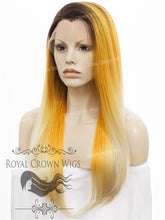 "24 inch Heat Safe Synthetic Straight Texture Lace Front ""Aphrodite"" in Yellow to Blonde Ombre, Synthetic Wig, Royal Crown Wigs"