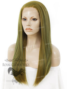 "24 inch Heat Safe Synthetic Straight Texture Lace Front ""Aphrodite"" in Moss Green, Synthetic Wig, Royal Crown Wigs"