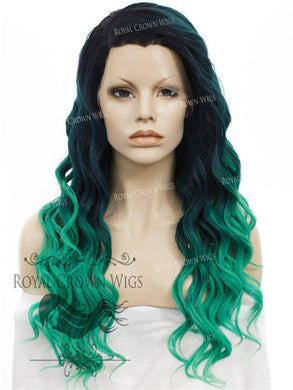 24 inch Synthetic Lace Front with Wave Texture in Dark Green to Light Green Ombre, Synthetic Wig, Royal Crown Wigs