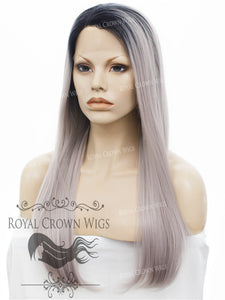 "24 inch Heat Safe Synthetic Straight Texture Lace Front ""Aphrodite"" in Silver with Lilac Tone, Synthetic Wig, Royal Crown Wigs"