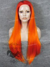 "30 inch Heat Safe Synthetic Straight Lace Front ""Hera"" in Red Rooted Fiery Orange, Synthetic Wig, Royal Crown Wigs"
