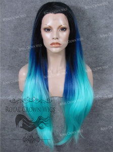 "30 inch Heat Safe Synthetic Straight Lace Front ""Hera"" in Rooted Two Tone Blue, Synthetic Wig, Royal Crown Wigs"