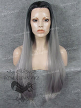 "30 inch Heat Safe Synthetic Straight Lace Front ""Hera"" in Rooted Gray, Synthetic Wig, Royal Crown Wigs"