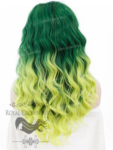"24 inch Heat Safe Synthetic Lace Front ""Ada"" with Wavy Texture in Green to Yellow Ombre, Synthetic Wig, Royal Crown Wigs"