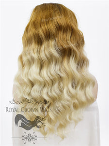 "24 inch Heat Safe Synthetic Lace Front ""Ada"" with Wavy Texture in Rooted Hombre, Synthetic Wig, Royal Crown Wigs"