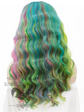 "24 inch Heat Safe Synthetic Lace Front ""Ada"" with Wavy Texture in Space Rainbow, Synthetic Wig, Royal Crown Wigs"