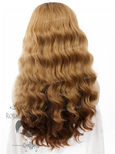 "24 inch Heat Safe Synthetic Lace Front ""Ada"" with Wavy Texture in Rooted and Tipped Brown, Synthetic Wig, Royal Crown Wigs"