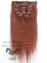 Brazilian 9 Piece Straight Human Hair Weft Clip-In Extensions in #33, Clip-In Hair Extension, Royal Crown Wigs
