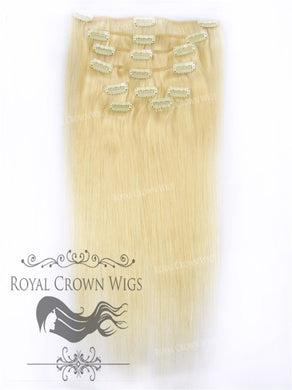 Brazilian 9 Piece Straight Human Hair Weft Clip-In Extensions in #60, Clip-In Hair Extension, Royal Crown Wigs