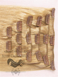 Brazilian 9 Piece Straight Human Hair Weft Clip-In Extensions in #14, Clip-In Hair Extension, Royal Crown Wigs