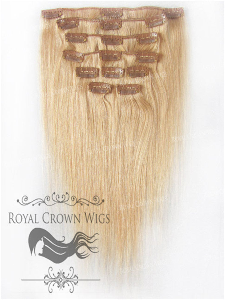 Brazilian 9 Piece Straight Human Hair Weft Clip-In Extensions in #16, Clip-In Hair Extension, Royal Crown Wigs