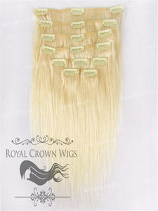 Brazilian 9 Piece Straight Human Hair Weft Clip-In Extensions in #22, Clip-In Hair Extension, Royal Crown Wigs