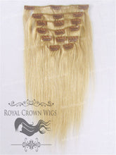 Brazilian 9 Piece Straight Human Hair Weft Clip-In Extensions in #24, Clip-In Hair Extension, Royal Crown Wigs
