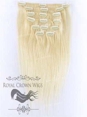 Brazilian 9 Piece Straight Human Hair Weft Clip-In Extensions in #613, Clip-In Hair Extension, Royal Crown Wigs