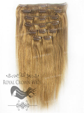 Brazilian 9 Piece Straight Human Hair Weft Clip-In Extensions in #6, Clip-In Hair Extension, Royal Crown Wigs