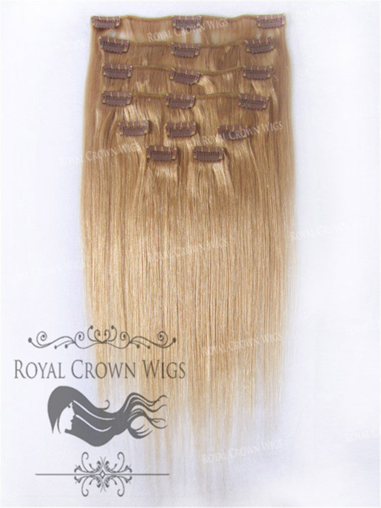 Brazilian 9 Piece Straight Human Hair Weft Clip-In Extensions in #8, Clip-In Hair Extension, Royal Crown Wigs