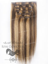 Brazilian 9 Piece Straight Human Hair Weft Clip-In Extensions in #4/#27, Clip-In Hair Extension, Royal Crown Wigs