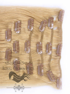 Brazilian 9 Piece Straight Human Hair Weft Clip-In Extensions in #18, Clip-In Hair Extension, Royal Crown Wigs