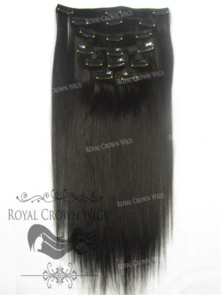 Brazilian 9 Piece Straight Human Hair Weft Clip-In Extensions in #1b, Clip-In Hair Extension, Royal Crown Wigs