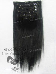 Brazilian 9 Piece Straight Human Hair Weft Clip-In Extensions in #1, Clip-In Hair Extension, Royal Crown Wigs