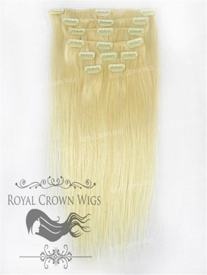 Brazilian 9 Piece Straight Human Hair Weft Clip-In Extensions in #22/#613, Clip-In Hair Extension, Royal Crown Wigs