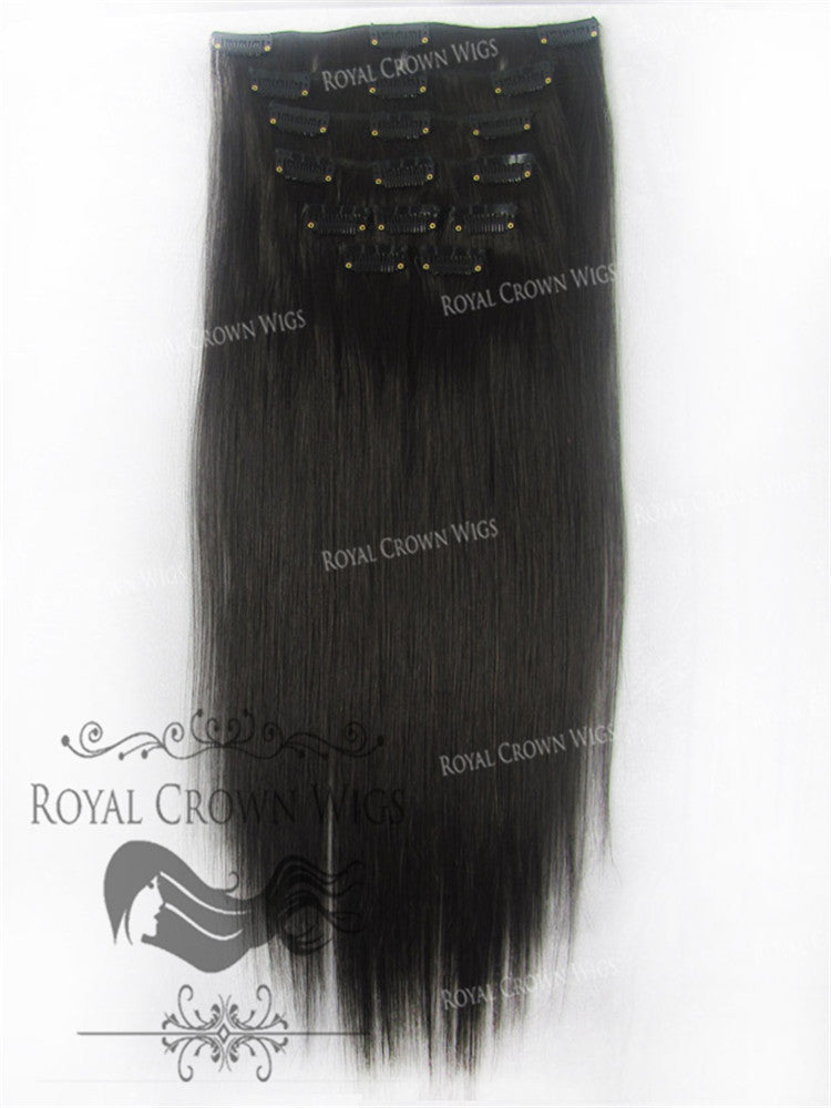Brazilian 9 Piece Straight Human Hair Weft Clip-In Extensions in #2, Clip-In Hair Extension, Royal Crown Wigs