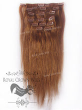 Brazilian 9 Piece Straight Human Hair Weft Clip-In Extensions in #30, Clip-In Hair Extension, Royal Crown Wigs