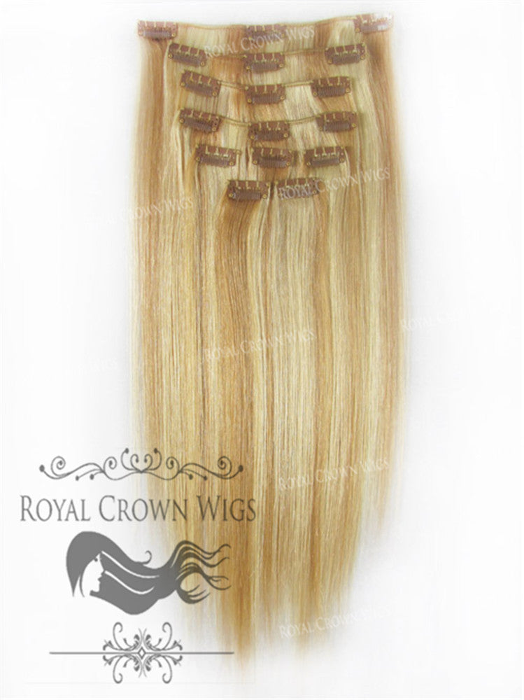 Brazilian 9 Piece Straight Human Hair Weft Clip-In Extensions in #27/#613, Clip-In Hair Extension, Royal Crown Wigs