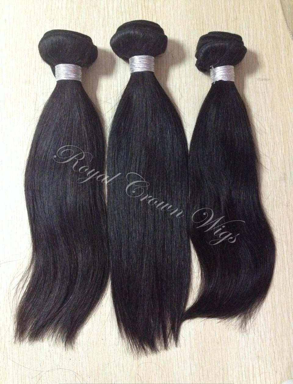Yaki Human Hair Weft, Natural Color Weft Hair Extension, Royal Crown Wigs