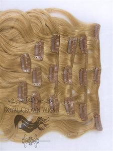 Brazilian 9 Piece Body Wave Human Hair Weft Clip-In Extensions in #18, Clip-In Hair Extension, Royal Crown Wigs