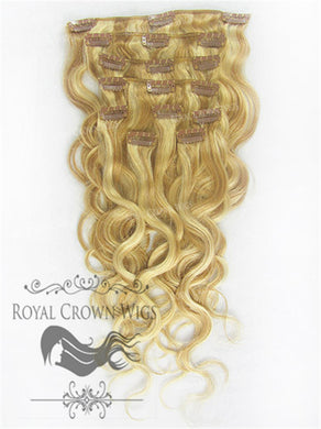 Brazilian 9 Piece Body Wave Human Hair Weft Clip-In Extensions in #27/#613, Clip-In Hair Extension, Royal Crown Wigs