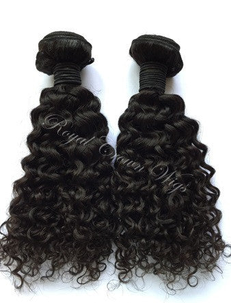 Deep Curl Human Hair Weft, Natural Color Weft Hair Extension, Royal Crown Wigs