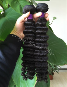 Deep Wave Human Hair Weft, Natural Color Weft Hair Extension, Royal Crown Wigs