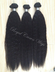 Kinky Straight Human Hair Weft, Natural Color Weft Hair Extension, Royal Crown Wigs