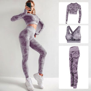 Women Yoga Set Gym Clothing Seamless Gym Fitness Leggings with Corp Tops Workout Sport Suit Women Sportswear Set Active Wear