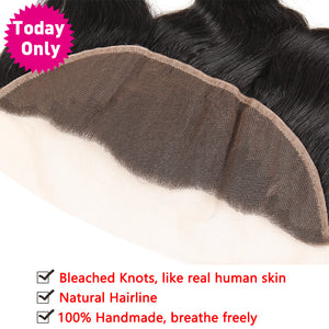 Brazilian Body Wave Bundles 13x4 Ear to Ear Lace Frontal Closure With Baby Hair Human Hair Bundles Non Remy Natural, Today Only Collection, Royal Crown Wigs