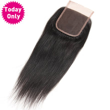 Brazilian Straight Hair Lace Closure With Baby Hair 100% Human Hair Bundles Natural Black Color Non Remy Hair, Today Only Collection, Royal Crown Wigs