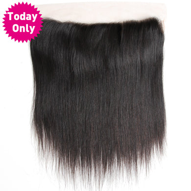 Brazilian Straight Hair 13X4 Ear to Ear Lace Frontal Closure With Baby Hair 100% Human Hair Bundles Non Remy Hair, Today Only Collection, Royal Crown Wigs