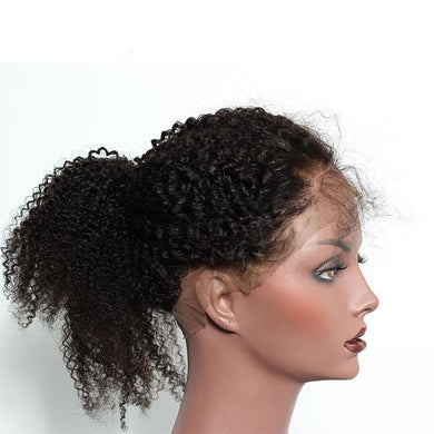 Mongolian Afro Kink Curly Pre Plucked 360 Lace Frontal Closure Natural Hairline With Baby Hair Natural Black, Today Only Collection, Royal Crown Wigs
